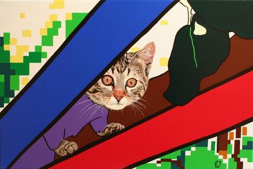 painting Self portrait cat